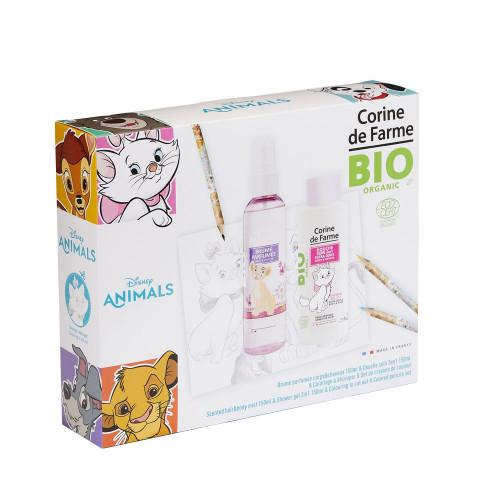 Corine de Farme - Disney Animals - Coffret Brume parfumée 150ml BIO + Gel douche 150ml BIO + set de crayons de couleur - Marie